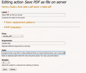 Rule set for saving PDF's to server