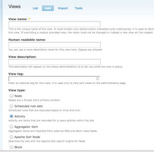 Adding the Activity in Views