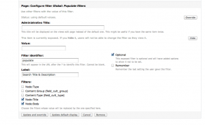Configure views filters populate