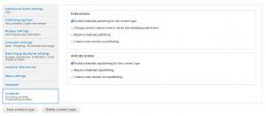 scheduler options of content type