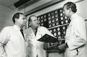 Dr. Paul Levine, Dr. Robert Cantrell, and Dr. John Persing, photo by Bill Faust, 1992. Historical Collections, HSL, UVa.